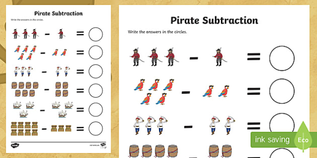 Pirate Subtraction Worksheet / Activity Sheet - Pirate Addition Sheet - pirate pirates pirate