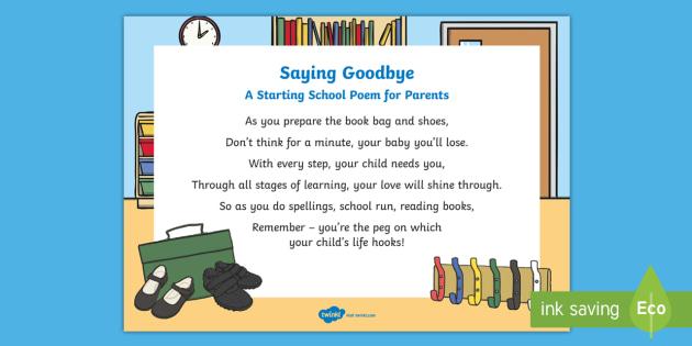Saying Goodbye Poem - first day, starting school, Reception, EYFS
