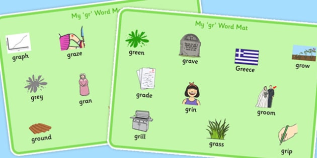 GR Word Mats - speech sounds, phonology, articulation, speech therapy, cluster reduction, clusters, blends