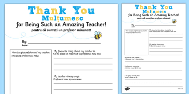 Teacher Thank You Letter Romanian Translation - romanian, teacher, thank you, letter, end of term, end of year