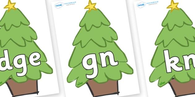 Silent Letters on Christmas Trees (Plain) - Silent Letters, silent letter, letter blend, consonant, consonants, digraph, trigraph, A-Z letters, literacy, alphabet, letters, alternative sounds