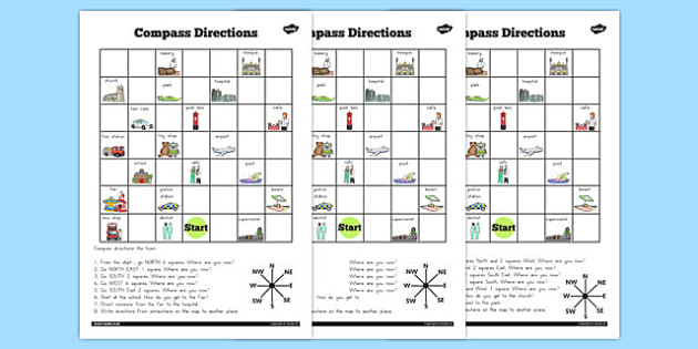 Compass Directions Worksheet - australia, compass, directions