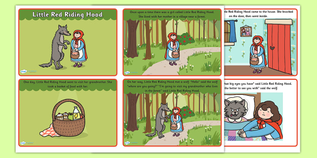 Little Red Riding Hood Story Sequencing with Text - little red riding hood, red riding hood, little red riding hood story sequencing, traditional tales