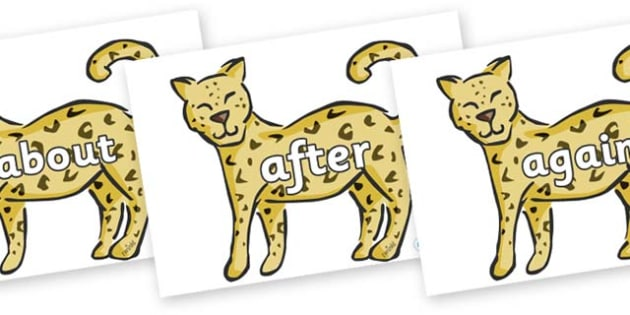 KS1 Keywords on Leopards - KS1, CLL, Communication language and literacy, Display, Key words, high frequency words, foundation stage literacy, DfES Letters and Sounds, Letters and Sounds, spelling