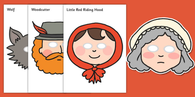 photo about Little Red Riding Hood Story Printable called Small Pink Using Hood Purpose Participate in Masks - Minimal Pink Using
