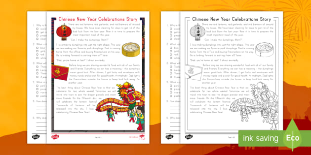 Second Grade Chinese New Year Celebration Story Reading Comprehension