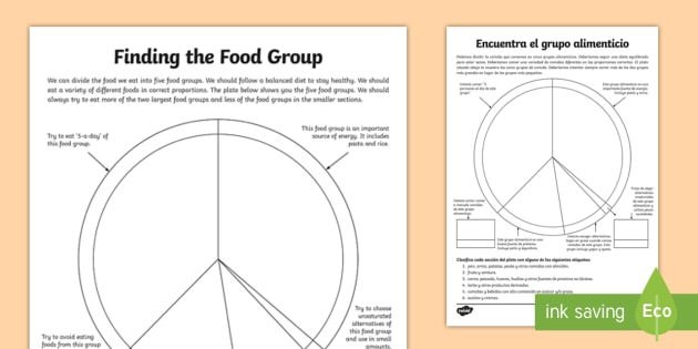 Finding the Food Group Activity Sheet EnglishSpanish food – Spanish Food Worksheets