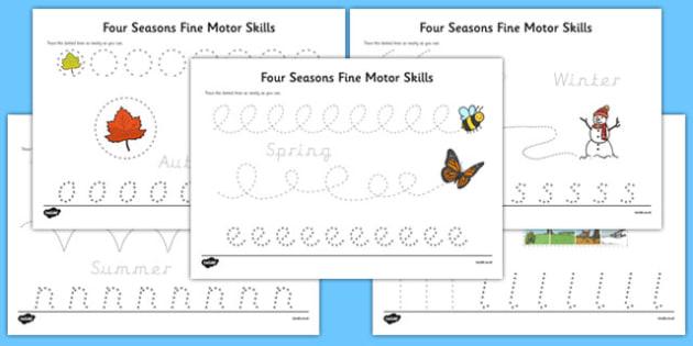four seasons fine motor skills worksheet activity sheet pack
