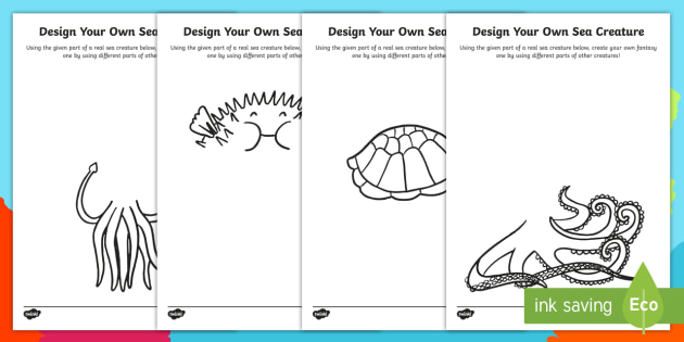 under the sea design your own sea creature worksheet activity