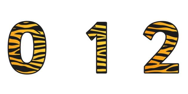 Tiger Pattern Display Numbers - safari, safari numbers, safari display numbers, tiger display numbers, tiger pattern display numbers, tiger pattern
