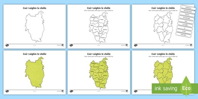 Cuir Éire le Chéile: Laighin Jigsaw Puzzle Activity Sheets-Irish - Requests - ROI, Ireland, provinces, na cúigí, Leinster, Laighin, map ,Irish, worksheet