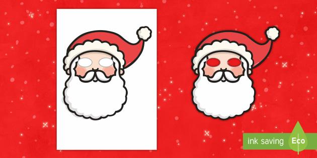 Santa Mask - role play, santa, claus, father christmas, face, seasonal, nativity, christmas play, production, sho