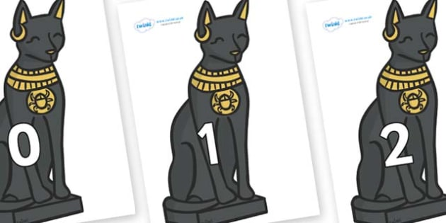 Numbers 0-31 on Egyptian Cats - 0-31, foundation stage numeracy, Number recognition, Number flashcards, counting, number frieze, Display numbers, number posters