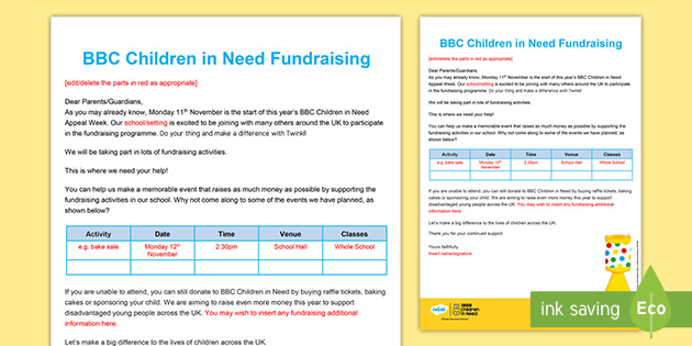 BBC Children in Need Letter