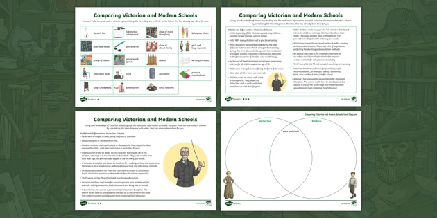 Comparing Modern And Victorian Schools Venn Diagram Differentiated Worksheet