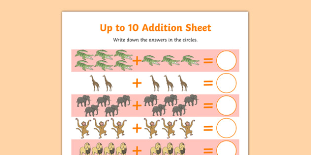 Crocodile Themed Up to 10 Addition Sheet - The Selfish Crocodile, story, book, reptiles, creatures, numeracy, maths, numbers, counting