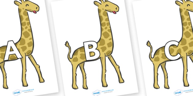 A-Z Alphabet on Giraffes - A-Z, A4, display, Alphabet frieze, Display letters, Letter posters, A-Z letters, Alphabet flashcards