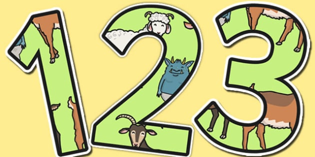 The Three Billy Goats Gruff Themed Display Numbers - display