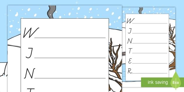 Winter Acrostichon Gedicht Schreibvorlage - Winter Acrostichon