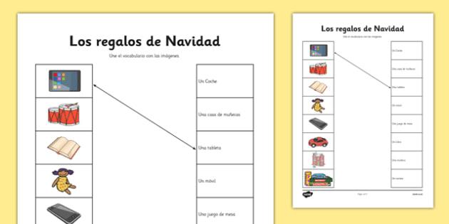 Los regalos de Navidad Spanish - spanish, christmas, presents, match up