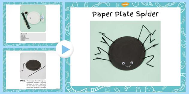 Paper Plate Spider Craft Instructions PowerPoint - minibeast, halloween