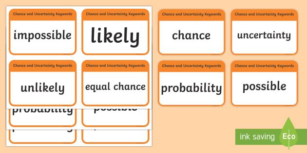 CfE Second Level Numeracy and Mathematics Chance and Uncertainty Keyword Flashcards-Scottish - Wall Display, keywords, MNU 2-22a, language of maths, vocabulary, word wall, Scottish