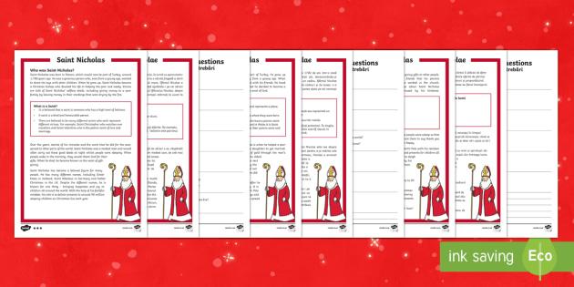 KS1 Saint Nicholas Differentiated Reading Comprehension Activity English/Romanian - Christmas, Xmas, Father Christmas, Santa, Turkey, Saint, Saint Nicholas, gifts, giving, presents, ki