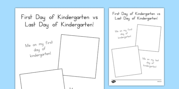 First Day of Kindergarten vs Last Day of Kindergarten - usa, america, school, kindergarten, first day, last day