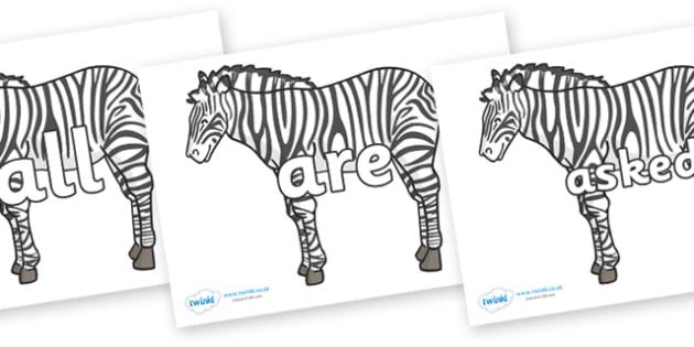Tricky Words on Zebras - Tricky words, DfES Letters and Sounds, Letters and sounds, display, words