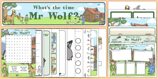 Resource Pack to Support Teaching on What's The Time, Mr Wolf? - resource pack, mr wolf