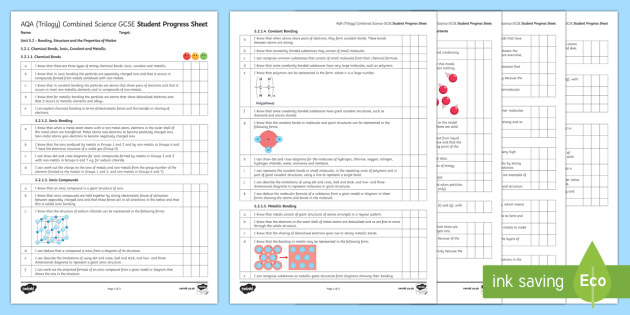 AQA (Trilogy) Unit 5.2 Bonding, Structure and the Properties of Matter Student Progress Sheet