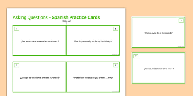 General Conversation Question Travel & Tourism Double Sided Cards Spanish/English