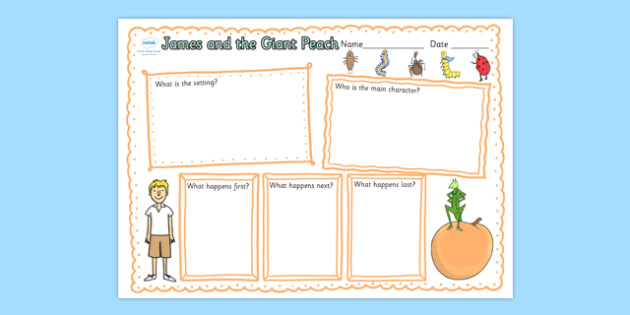 Book Review Writing Frame to Support Teaching on James and the Giant Peach - book review, writing frame, james and the giant peach, giant peach book review, story book, peach