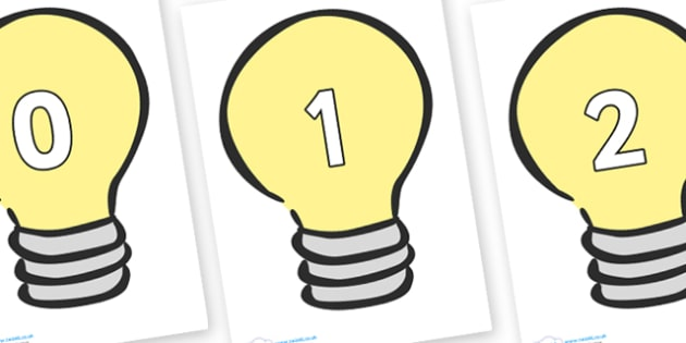 Numbers 0-50 on Light Bulbs (Plain) - 0-50, foundation stage numeracy, Number recognition, Number flashcards, counting, number frieze, Display numbers, number posters