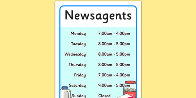 Newsagents Role Play Opening Times
