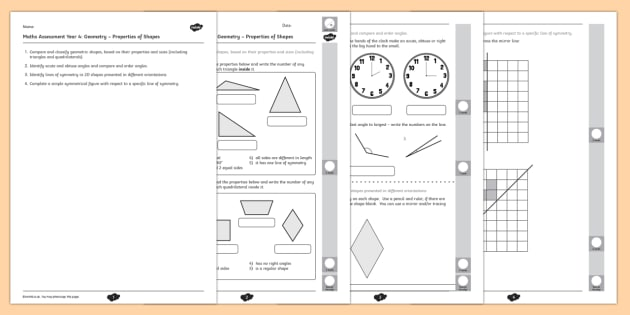 Year 4 Maths Assessment Geometry - Properties of Shapes Term 1