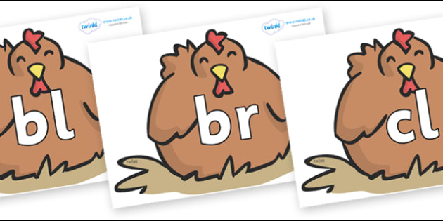 Initial Letter Blends on Chickens - Initial Letters, initial letter, letter blend, letter blends, consonant, consonants, digraph, trigraph, literacy, alphabet, letters, foundation stage literacy