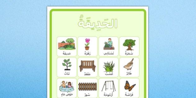 ملصق مفردات الحديقة بالحركات- بوستر، الحديقة، وسائل تعليمية