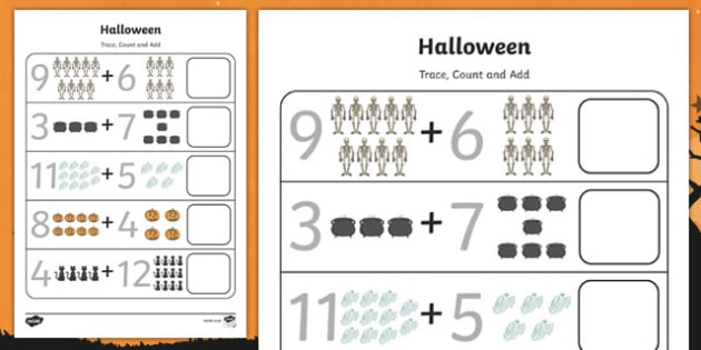 Halloween 0-20 Count and Add Activity Sheet, worksheet