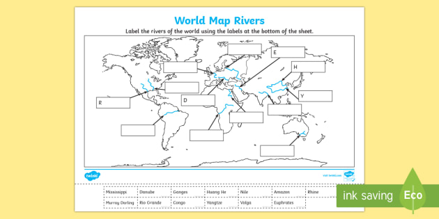 World Map Rivers Labelling Activity - world map, rivers