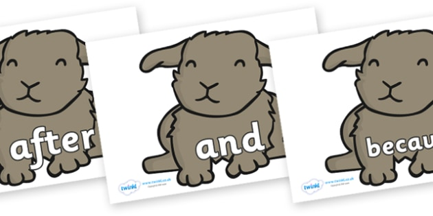 Connectives on Rabbits - Connectives, VCOP, connective resources, connectives display words, connective displays