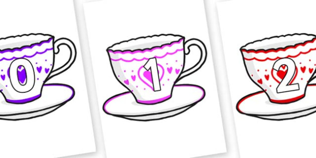 Numbers 0-31 on Cups and Saucers - 0-31, foundation stage numeracy, Number recognition, Number flashcards, counting, number frieze, Display numbers, number posters