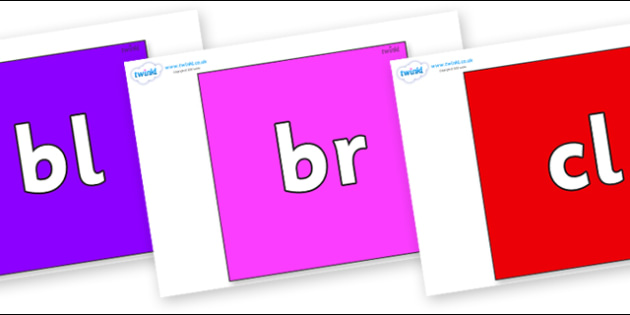Initial Letter Blends on Squares - Initial Letters, initial letter, letter blend, letter blends, consonant, consonants, digraph, trigraph, literacy, alphabet, letters, foundation stage literacy