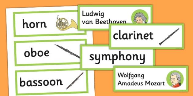 Classical Period Music Word Cards - classical, period, music