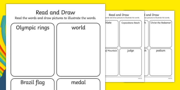 Rio Olympics 2016 Read and Draw Worksheet / Activity Sheet Pack - rio olympics, 2016 olympics, rio 2016, read, draw, activity, sheets, worksheet