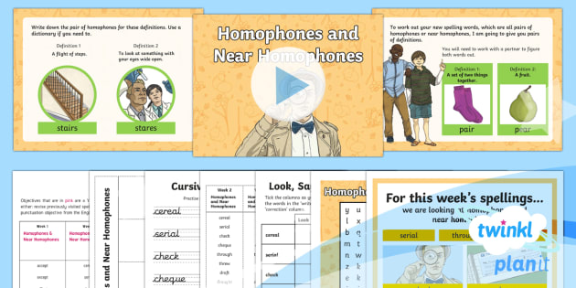 PlanIt Y4 Term 2A W2: Homophones and Near Homophones Spelling Pack - Spellings Year 4, Year 4, Y4, homophones, SPaG, GPS, weekly, lists, spelling, PlanIt,