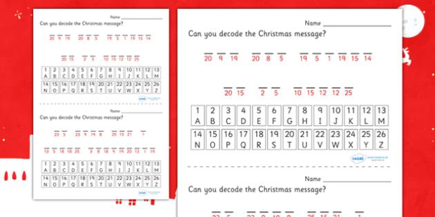 Themed Christmas Cryptograms - christmas, cryptograms, games, worksheet