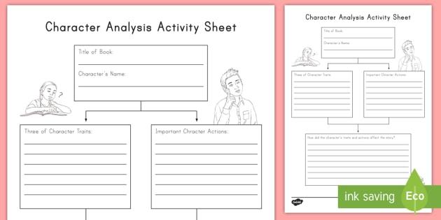 Character Analysis Worksheet / Worksheet - R.L.3.3, RL3.3, Character ...
