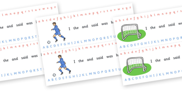 Alphabet Strips (Football) - Alphabet, Learning letters, Writing aid, Writing Area, football