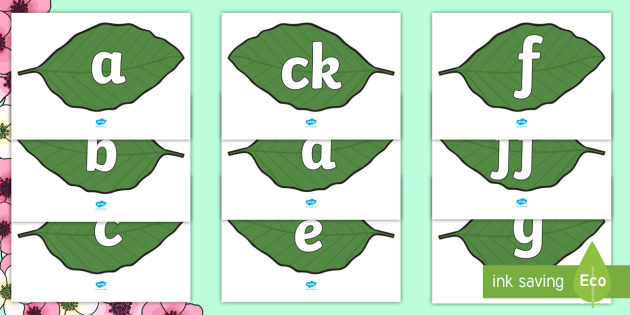 Phase 2 Phonemes on Spring Leaves - Phonemes, phoneme, Phase 2, Phase two, Foundation, Literacy, Letters and Sounds, DfES, display